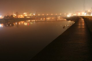 river, Vistula, bridge, night, fog, krakow, lights, path
