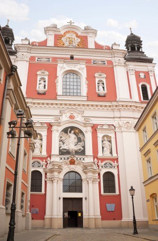 Main entrance of church in Poznan - visit to Poland